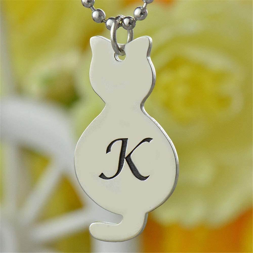 Tiny Cat Necklace with Initial Custom Name Necklace Personalized 925 Sterling Silver Necklace