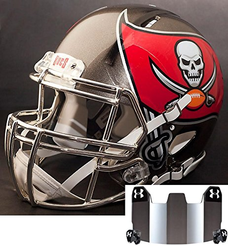 Riddell Speed Tampa Bay Buccaneers NFL Replica Football Helmet with S2BDCSP Football Helmet Facemask/Faceguard and Mirrored Eye Shield/Visor (Buccaneers Football Bay Helmet Replica Tampa)