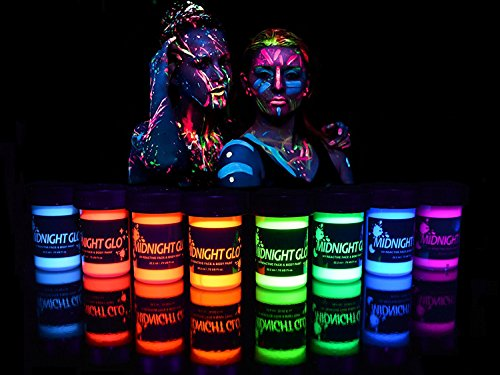 UV Body Paint Neon Glow Kit (Set of 8 Bottles .75 oz. Each) - Blacklight Reactive Fluorescent Paint - Safe On Skin, Washable, Non-Toxic, By Midnight -