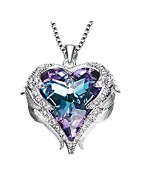 Y&M Heart Ocean Pendant Necklace Angel Wing Choker Necklaces Made Swarovksi Element Crystal