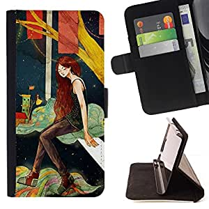 ForSamsung Galaxy S3 MINI i8190 (NOT S3) Case , Chica profundo solo Noche Artística- la tarjeta de Crédito Slots PU Funda de cuero Monedero caso cubierta de piel