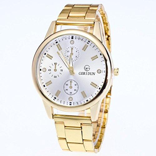 LEERYA New Mens Gold Watches Diamond Dial Gold Steel Analog Quartz Wrist Watch (White) - 24 Diamond White Dial