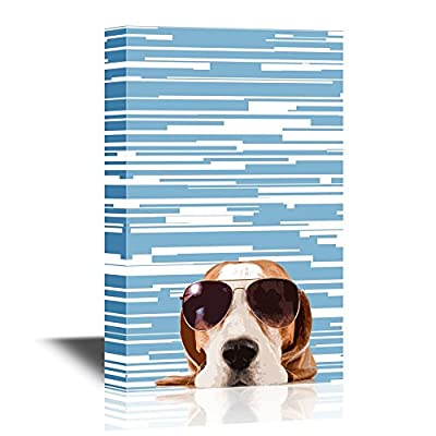 Peekaboo Animals Canvas Wall Art - Cool Dog Wearing Sunglasses - Gallery Wrap Modern Home Art   Ready to Hang - 12x18 inches