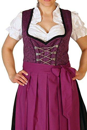 Alpenmärchen, 3tlg. Dirndl-Set lang - Trachtenkleid, Bluse, Schürze, Gr. 34-60, lila - ALM500L