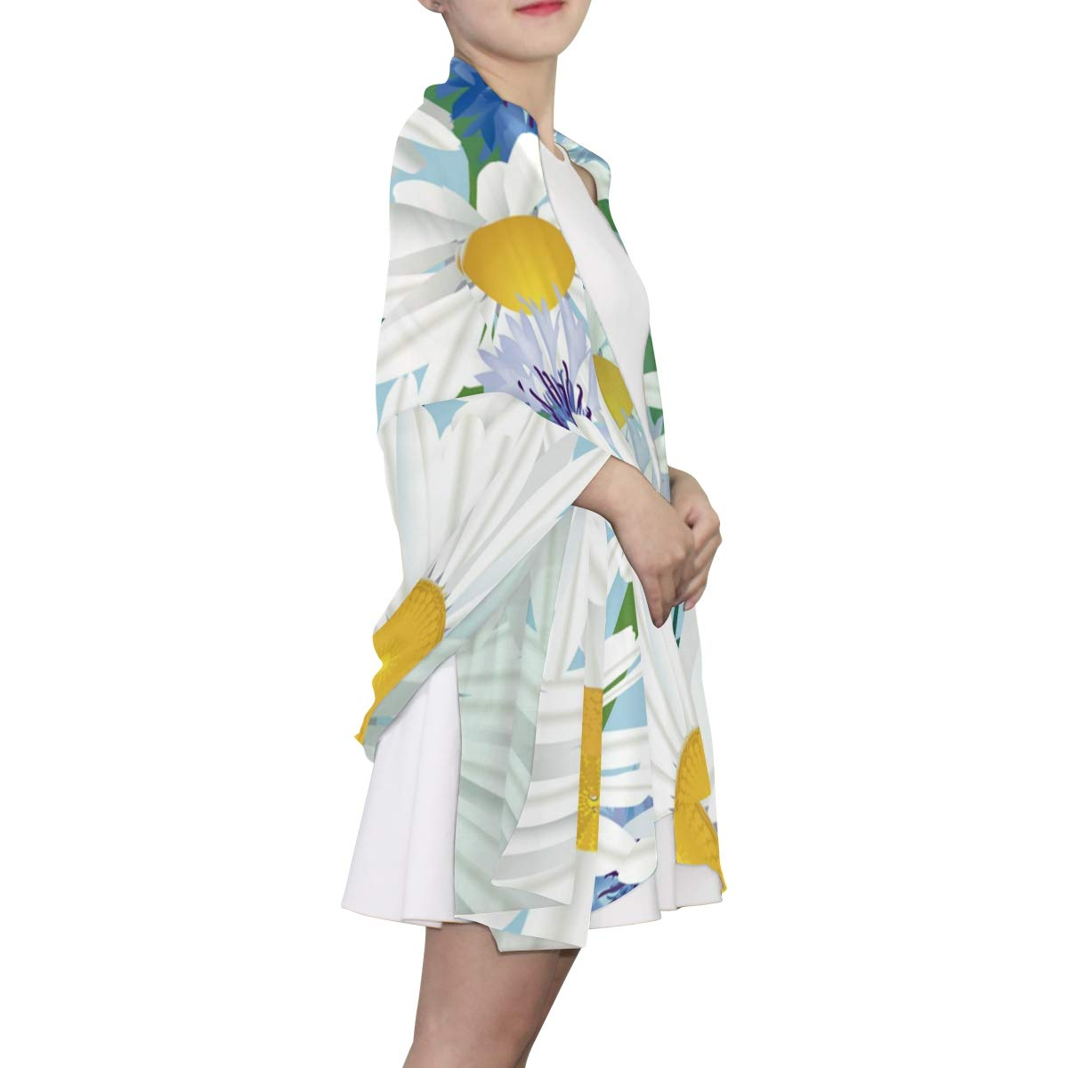 Long Scarf EELa Scrves Women Polyester Lightweight Soft Printed Meadow Flower Fashion Wrap Shawl Spring Winter 70x35 inches