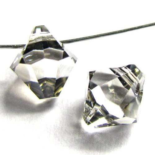 12 pcs Swarovski Crystal 6301 Top Drilled Bicone Pendant Bead Clear Satin 6mm / Findings / Crystallized Element
