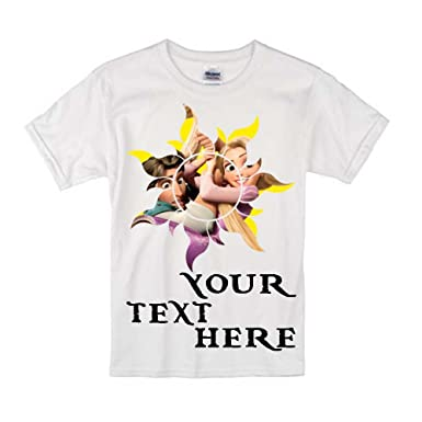 Sprinklecart Personalized Text Printed Flynn Rider Rapunzel Kids Birthday Tee 20 White