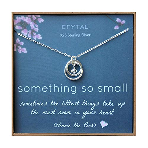 (EFYTAL New Mom Gifts, Sterling Silver Necklace for Mother and Baby Girl/Boy, Mother's Day Jewelry Gift Ideas)