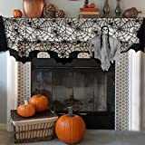OTBBA Halloween Decorations, Spiderweb Fireplace Mantle Scarf Black Lace Cobweb Cover 20'' X 80'' with One Hanging Ghost for Halloween Party Decoration