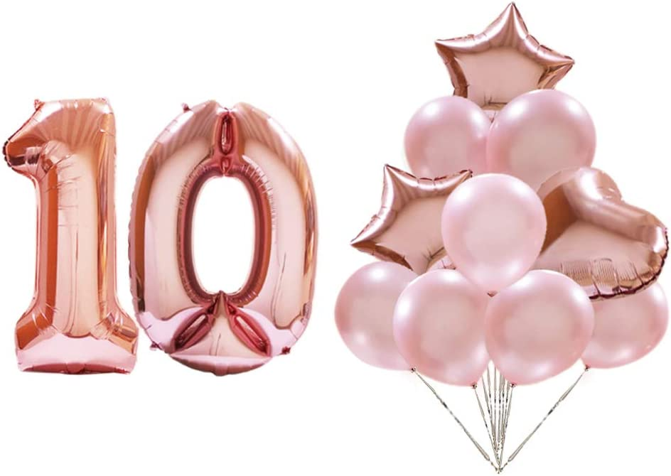 Amazon.com: Rose Gold Number 10 Balloons,10 Year Old Birthday Party  Decorations Balloon,Large Foil Mylar Digital Balloons and Decorated Latex  Balloons,Suitable for Anniversary, Engagement, Wedding Party Balloon S:  Toys & Games