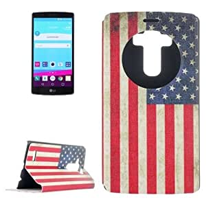 US Flag Pattern Leather Case with Holder & Caller ID Display for LG G4 / H815