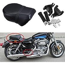 Ambienceo Rear Foot Peg Footpeg Footrest & Pillion Passenger Seat for 2007 -2013 Harley-Davidson Sportster XL 883L 883XL 883C 883N 1200N 1200 Nightster