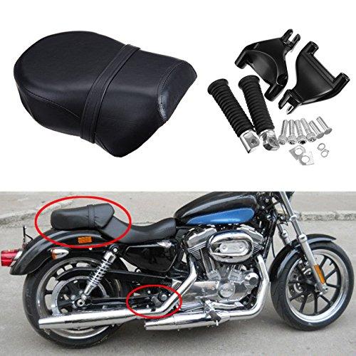 Harley Davidson Parts Sportster (Ambienceo Rear Foot Peg Footpeg Footrest & Pillion Passenger Seat for 2007 -2013 Harley-Davidson Sportster XL 883L 883XL 883C 883N 1200N 1200 Nightster)