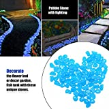 OVIAZA Glow in the Dark Pebbles,Fairy Garden Accessories Landscape Rocks,Stepping Stones Outdoor Decorations for Garden,Walkways,Driveway,Path,Fish Tank Aquarium DIY Decorations Gravel