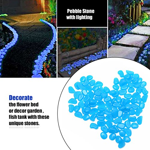 OVIAZA Glow in the Dark Pebbles,Fairy Garden Accessories Landscape Rocks,Stepping Stones Outdoor Decorations for Garden,Walkways,Driveway,Path,Fish Tank Aquarium DIY Decorations Gravel  - Landscape Stepping Stones