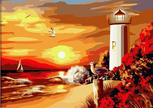 Greek Art Paintworks Paint Color By Number Kits,Seaside Lighthouse,16-Inch by 20-Inch