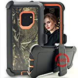 Galaxy S9 Plus Case,Kudex 4 in 1 Heavy Duty High Impact Defender Series Shockproof Rubber Protective Camo Hybrid Case Cover with Belt Clip Kickstand Holster for Samsung Galaxy S9 Plus (Tree Orange)