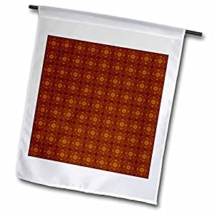 Jaclinart Abstract Geometric Collection - Rich shades of brown and gold checkered abstract flowers and crosses pattern - 18 x 27 inch Garden Flag (fl_64076_2)