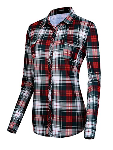 (Urban CoCo Women's Classic Plaid Shirt Button Down Long Sleeve Blouse (M, 6))