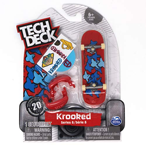 - Tech Deck Series 8 Krooked Skateboards Birds Slick II Red & Blue Rare Fingerboard with Trainer Clips