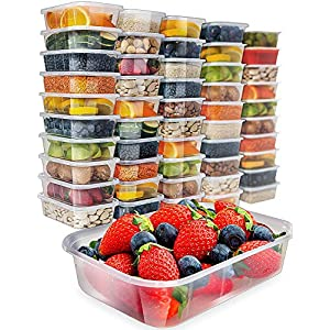 [50 pack] Food Storage Containers With Lids – 17oz Plastic Containers With Lids Freezer Containers – Plastic Food Containers Meal Prep Deli Containers Food Container With Lid