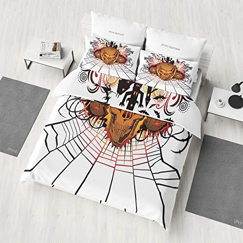 Zilcine 4 Piece Bedding Sets,Halloween Decorations,for Kids Boys Girls Reversible Bedding Sets(Extra Long -