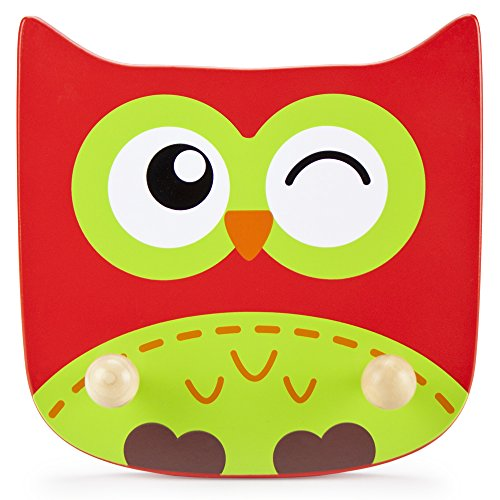 Imagination Generation Wooden Owl Kids Clothing Rack - Natural Wood Wall Mount Plaque for Children's Clothes & Coat Hanger, Zoo Animal Baby Room & Nursery -