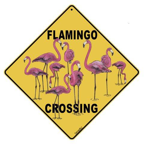 """Flamingo Crossing 12"""" X 12"""" Aluminum Sign"""