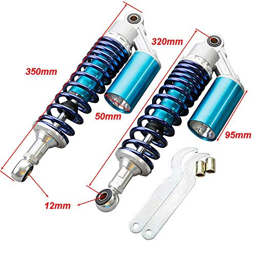 Soosee One Pair 320mm Motorcycle Air Shock Absorbers Universal Fit For Honda Suzuki Yamaha Kawasaki ATV Go Kart Quad Dirt Sport Bikes (Blue & Silver) (blue)