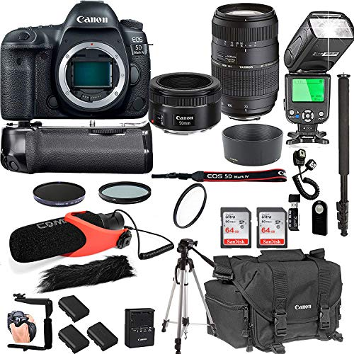 Canon EOS 5D Mark IV with 50mm f/1.8 STM Prime Lens + Tamron 70-300mm f/4-5.6 Di LD Macro Lens + 128GB Memory + Pro Battery Bundle + Power Grip + TTL Speed Light + Pro Filters,(24pc Bundle)