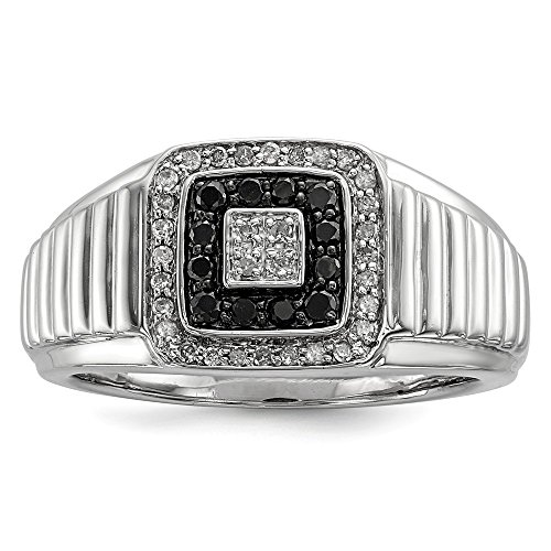 925 Sterling Silver Black White Diamond Mens Band Ring Size 10.00 Man Fine Jewelry Gift For Dad Mens For Him ()