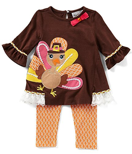 Rare Editions Baby Girls Thanksgiving Turkey Top and