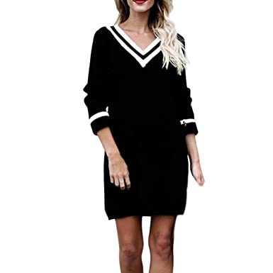 4bbbf79aedb9 Angelof Femme Robe en Maille Ample Pull Tricot Robe Col V Rayé Ado Fille  Top Femmes Chic Grande Taille  Amazon.fr  Vêtements et accessoires