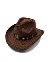 Summer Women Men Straw Western Cowboy Hat For Gentleman Adjused Size Sun Beach Cap Fashion hats&caps (Color : 2, Size : 58cm)