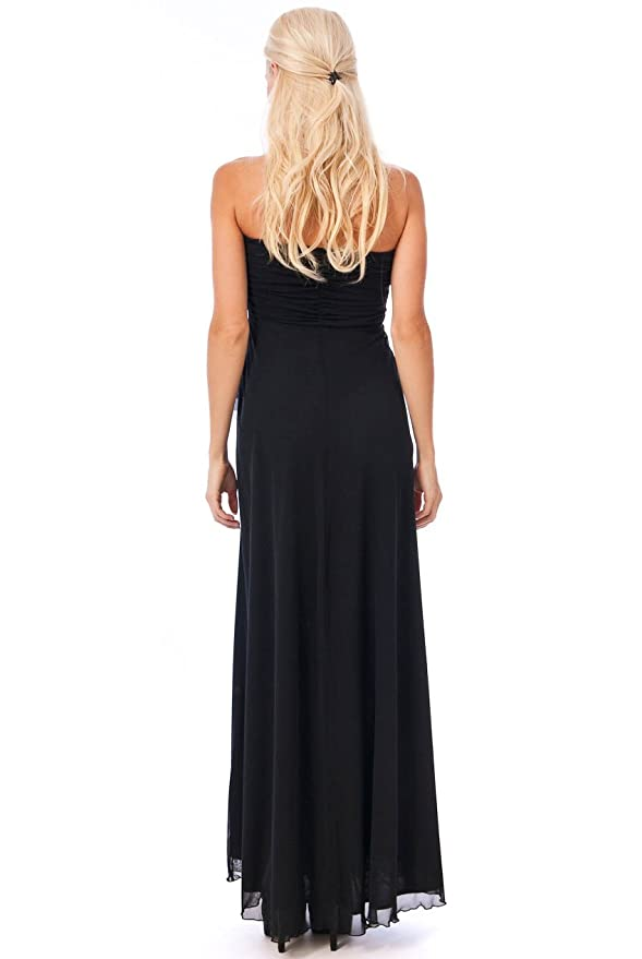 Blossoms Long Black Sash Diamante Strapless Formal Party Prom Ball Gown Maxi Dress 8-14 - UK Size 10 - Black - 50ins from underarm: Amazon.co.uk: Clothing