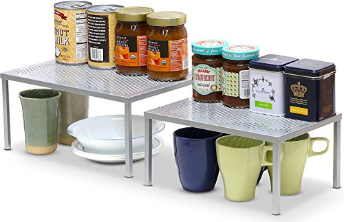 SimpleHoueware Expandable Stackable Kitchen Cabinet and Counter Shelf Organizer, Silver (Kitchen Cabinet Organizer Plates compare prices)
