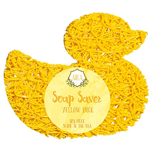Duck Soap Dish - Aira Soap Saver - Soap Dish & Soap Holder Accessory - BPA Free Shower & Bath Soap Holder - Drains Water, Circulates Air, Extends Soap Life - Easy to Clean, Fits All Soap Dish Sets - Yellow Duck