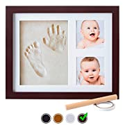 Baby Handprint Kit by Little Hippo |DELUXE SIZE + NO MOLD| Baby Picture Frame & Non Toxic CLAY! Baby Footprint kit, Perfect for Baby Boy gifts, and Baby Girls Gifts! (Espresso, Standard)
