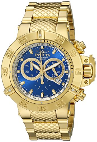 - Invicta Men's 14501 Subaqua Noma III Chronograph Blue Dial 18k Gold Ion-Plated Stainless Steel Watch