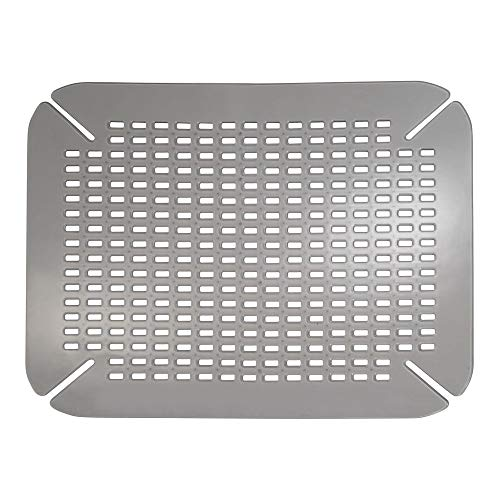 mDesign Adjustable Kitchen Sink Dish Drying Mat/Grid - Soft Plastic Sink Protector - Cushions Sinks, Stemware, Wine Glasses, Mugs, Bowls, Dishes - Quick Draining, Contours to Sink - Graphite Gray