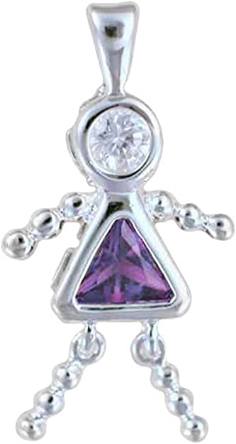 SS Crystal Birthstone BOY-February DiamondJewelryNY Silver Pendant