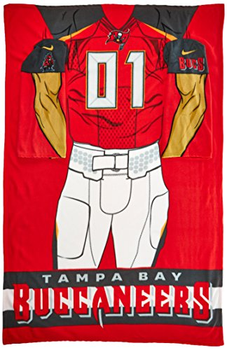 NFL Tampa Bay Buccaneers Adult Full Body Player Uniform Comfy Throw Blanket with Sleeves, 48