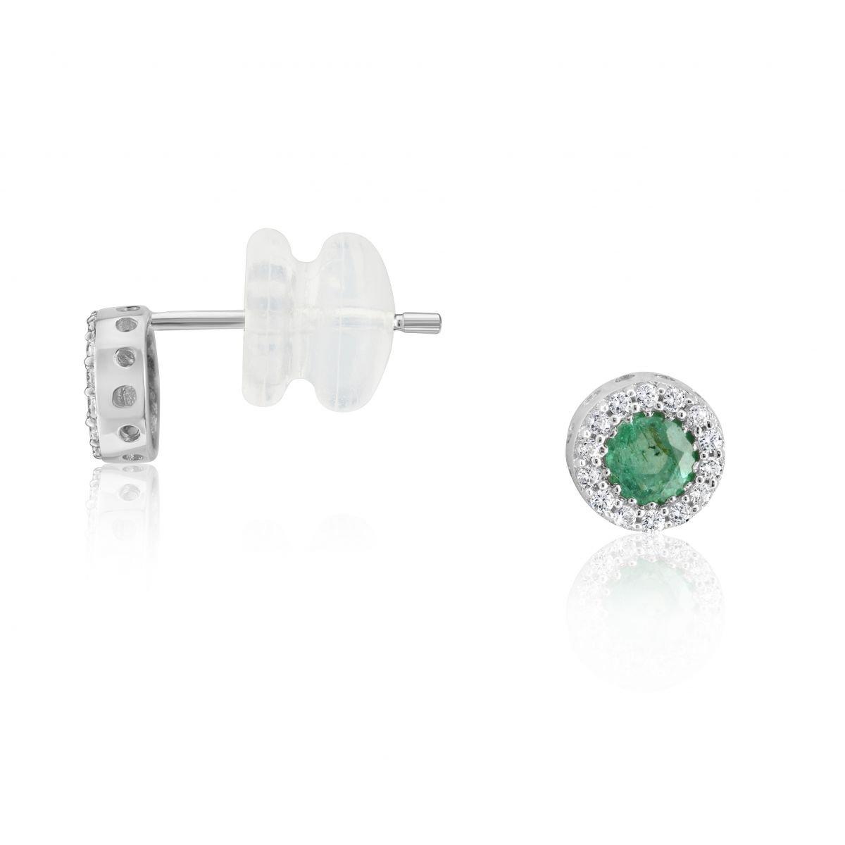 Ysora - Boucles D'oreilles En Or Gris Serties D'émeraudes Avec Entourage Oxydes - Or blanc - Diamètre : 0,5 cm 18273