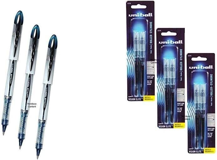 Uni-ball Vision Elite, Blue Black Ink, 3 Pens Plus 3 Packs of Refills, 0.8mm Bold Point