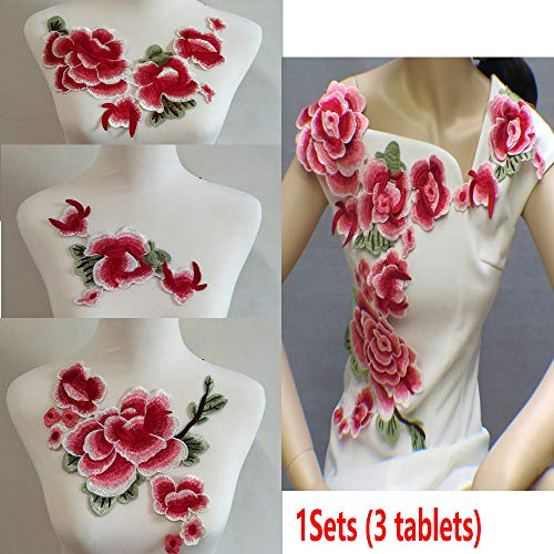 (1Set (3 Tablets) Large Big Peony/Rose Floral Lace Fabric Embroidery Trim Applique Lace Motif Venise Embossed Patches for Sewing (Color D))