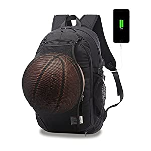 Casual Laptop Backpack College Backpack with Basketball Nets Headphone Port & USB Charging Port Sports Bag School Bag Bookbag Travel Daypack Fits 15.6 Inch Laptop Notebook (Black)