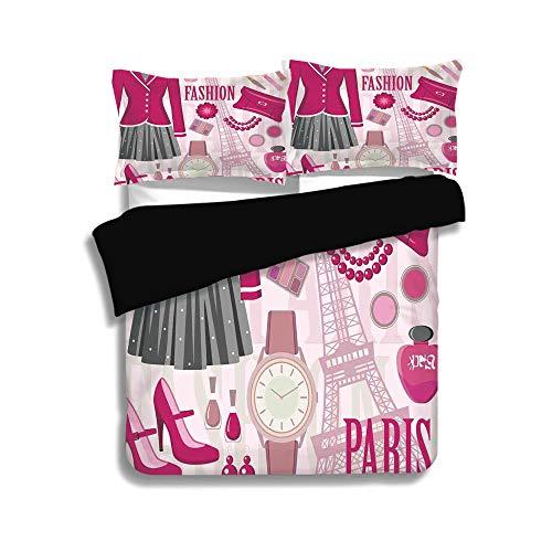 Black Duvet Cover Set King Size,Girls,Fashion Theme in Paris with Outfits Dress Watch Purse Perfume Parisienne Landmark,Pink Biege,Decorative 3 Pcs Bedding Set by 2 Pillow Shams (Black Ashley Dress In)