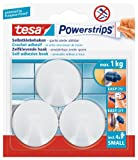 tesa UK Powerstrips Small Hooks with Removable Adhesive Strips, 3 Hooks