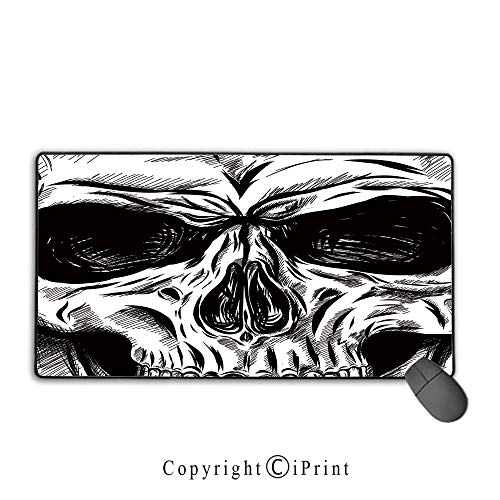 Gaming Mouse pad,Halloween,Gothic Dead Skull Face Close Up Sketch Evil Anatomy Skeleton Artsy Illustration Decorative,Black White, Suitable for Offices and Homes, Mouse pad with Lock,9.8