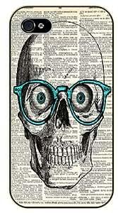 iPhone 5 / 5s Hipster skull, blue glasses - black plastic case / hipster, tribal